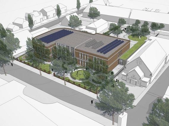 Nieuwbouw brede school Nijmegen vogelvlucht